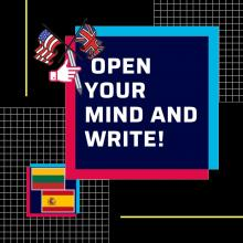 "Logo e-twinning project ""Open your mind and write!"" Spain-Lithuania"